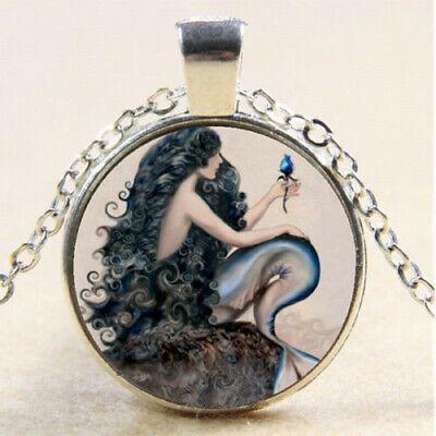Photo Cabochon Glass Silver Chain Pendant Necklace(Kissy mermaid /& child