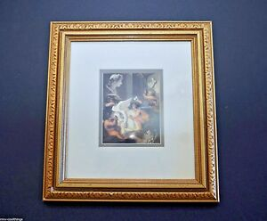 Quality Golden Wood Frame double matted - Cherub Print Cherubs Carving Statue
