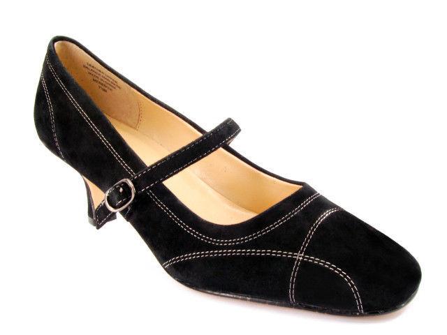 Nuevo KAREN SCOTT Mujer Negro Gamuza Mary Jane Jane Jane Zapato de vestido de Tacón Gatito Talla 7.5 M a8321e