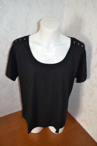 Schwarzes Shirt T-Shirt Damenshirt Baumwolle Gr 48//50 NEU+OVP