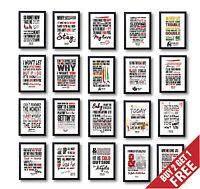 BEST LYRIC ART POSTERS A3 A4 Size 40+ OPTIONS * Top Songs Print Music Wall Art