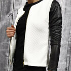 Womens Slim Zip Blazer Suit Quilted Coat Jacket Ladies Leather Top Outwear 6-16
