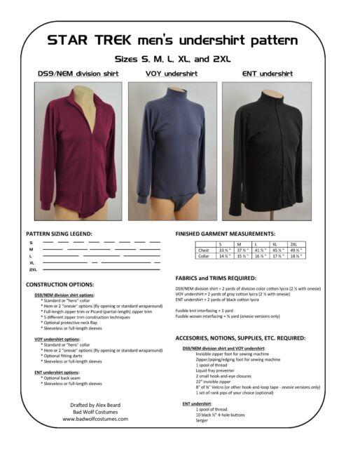 Star Trek Sewing Pattern - Starfleet uniform undershirt - DS9, VOY, ENT (men's)