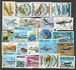 AIRCRAFT-AEROPLANES-Collection-Packet-of-25-Different-WORLD-Stamps-Lot-1