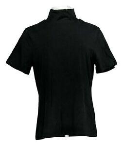 Isaac Mizrahi Live! Women's Top Sz M Mock Neck Short Sleeve Black A384888