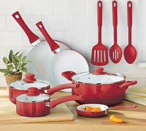 12-Piece Set Ceramic Nonstick Cookware Set Pots /& Pans Teal Home Kitchen Cook