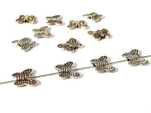 15 Stück #A00016 Metallperlen Schmetterling 10x8mm Silber