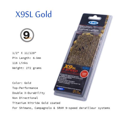 KMC X9SL//X9.93//Z99 9 Speed MTB Road Bike Chain for Shimano SRAM Campagnolo