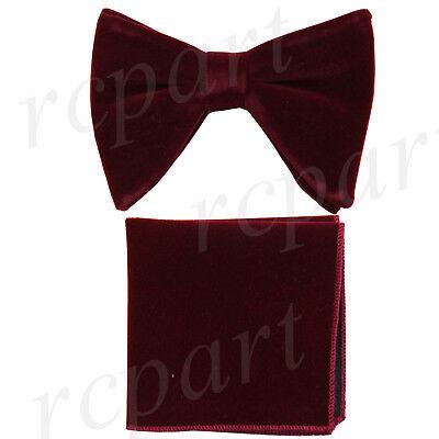 New in box Brand Q formal Men/'s Pre-tied Velvet Bow tie /& Hankie Burgundy