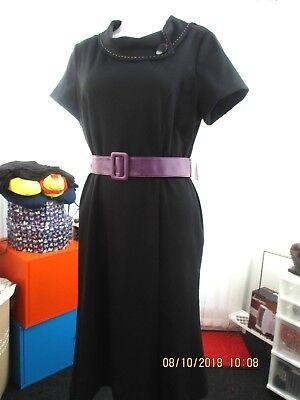 """Fashion Style """"emanuel"""" Ladies David Abito Nero Con Bordo Viola E Cintura Taglia 14 B.n.w.t.-mostra Il Titolo Originale Saldi Di Fine Anno"""