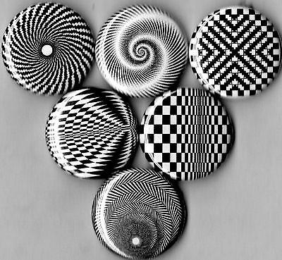 op art 6 pins buttons badges optical new