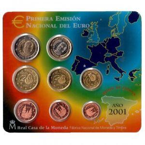 ESPAGNE Coffret 8 Pièces d'Euro en coffret FDC BU 2001