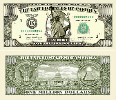 1 Million Dollar Bill Movie Prop Money Novelty Traditional Liberty 50 Lot