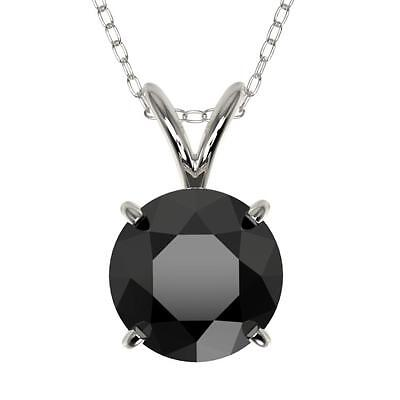 3007. 1.50 CTW Fancy Black VS Diamond Bridal Solitaire Necklace Gold - REF... Lot 3007