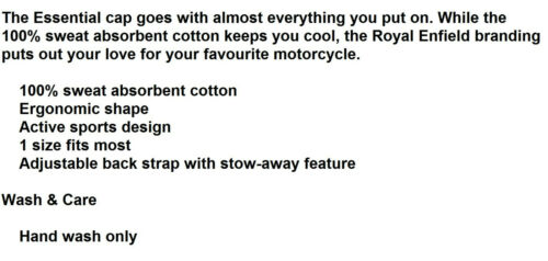 100/% Sweat Absorbent Cotton Brand New Genuine Royal Enfield Caps Open Size