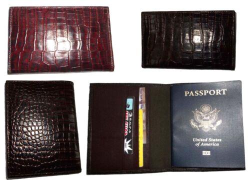 Neuf 4 Peau Crocodile Of Cover De Marron Imprimé Boîte Cuir Lot Passport 6ZTSqFxnx