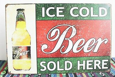 Tin Sign Wall Retro Metal Bar Pub Beer Poster slogan Ice Sold Here Store plate A