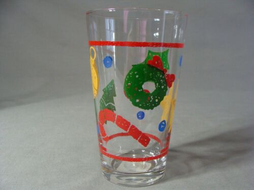 Details about  /4 Libbey 16 Oz Clear Glass Christmas Tumblers In The Folk Art Lie27 Pattern