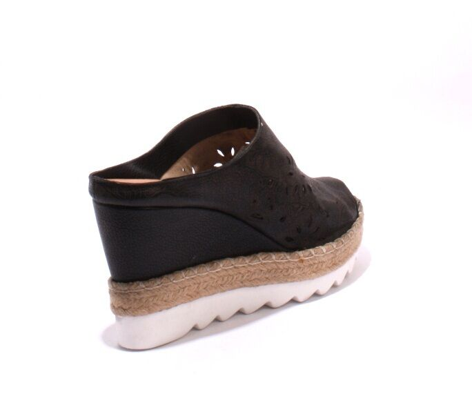 women Piu 52373b Black Black Black Brown Leather Espadrille Platform Wedge Slides 40   US 10 c4c3f2