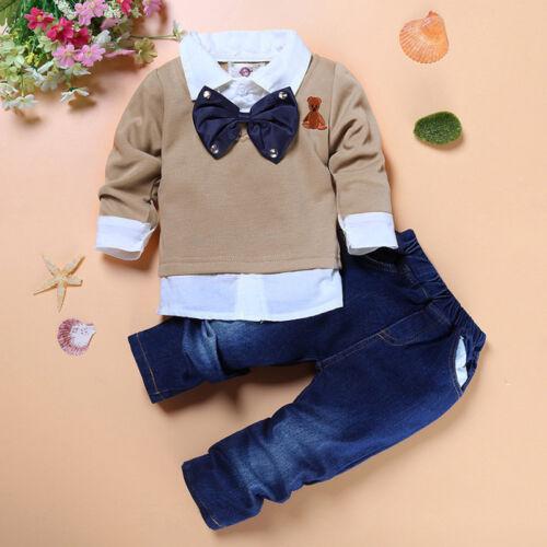 Denim Hose Outfits Gentleman Anzug 2tlg Baby Kinder Jungen Shirt Hemd Top