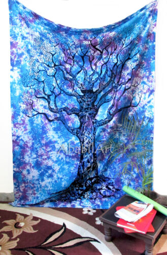 Twin Tree Of Life Multi Tie Dye Wall Hanging Bohemian Bedspread Tapestry Throw