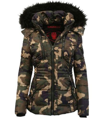 Navahoo Damen Winter Jacke Trend Jacke Damen Mantel Steppjacke Fellkragen ESMA