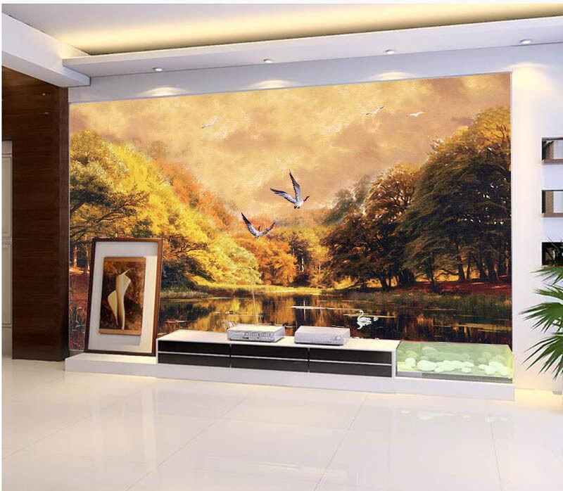 3D Sunset Flying Bird Lake Wall Paper Wall Print Decal Wall AJ WALLPAPER CA