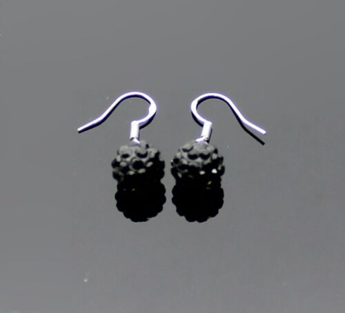 SPARKLY BLACK CRYSTAL BALL STERLING SILVER SP GIRLS LADIES EARRINGS DANGLE