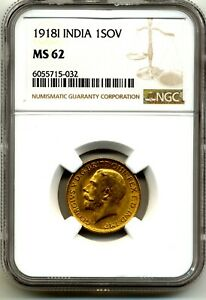 1918 I KING GEORGE V FULL GOLD SOVEREIGN MS62 NGC  COIN  INDIA