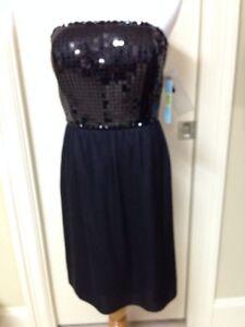 Black Sequin Antonio Melani Cocktail Dress Convertable Straps Size