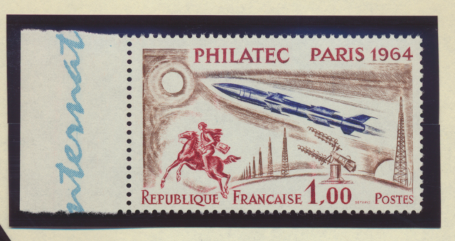 France Stamp Scott #1100, Mint Never Hinged, Single with Tab/Label On Left