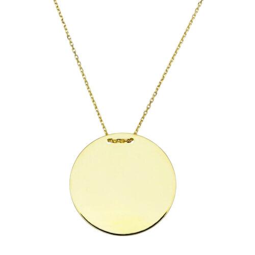 Real oro 585 grabado disco con 45cm cadena de oro colgante dorado 14 Karat 3228