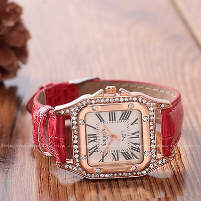 14K Rose Gold Plated Crystal Case Dress Ladies Womens Leather Watch Quartz Red