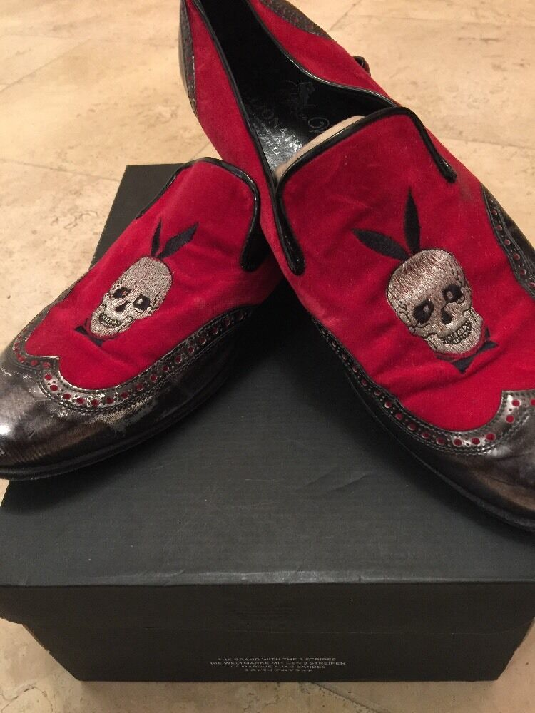 Billionaire Couture Men's Red & Silver Leather & Suede Dinner Slippers