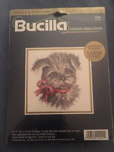 Vintage-Bucilla-Counted-Cross-Stitch-Kit-BE-MINE-Puppy-w-red-Bow-5-X5-NEW