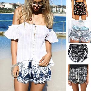 ff4ca7d5ba07 Detalles de Mujer Shorts Muy Cortos Verano Casual cintura alta Pantalones  Estampado Informal