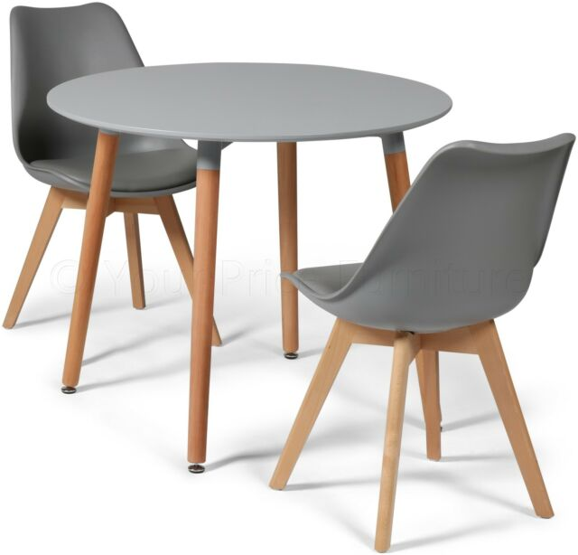 ddfe2f3c88ea Toulouse Tulip Eiffel Style Dining Set 90cms Round Grey Table   2 Grey  Chairs