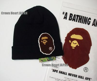New A Bathing Ape Men s BIG APE HEAD KNIT CAP Black Beanie fr BAPE Japan  2018 bffc5157b54