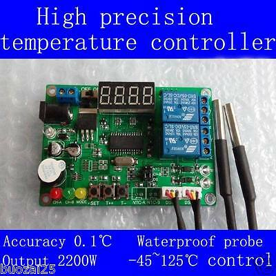 -45℃-125℃ DC5-24V 2-CH Digital Temperature Controller Relay Module+2 Sensors