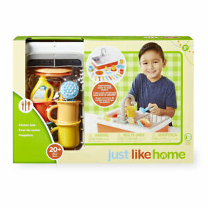 NEW Just Like Home Kitchen Sink Set Play Dishes Running Water Kids ...
