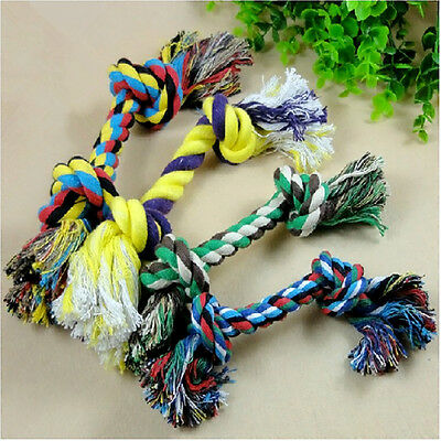 Pet Chew Knot Toy Cotton Braided Bone Rope Color Puppy Dog