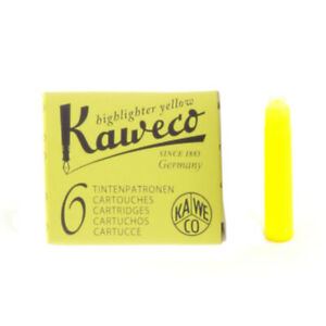 Kaweco-Ink-Cartridges-Neon-Yellow-Pack-of-6-Highlighter-Ink