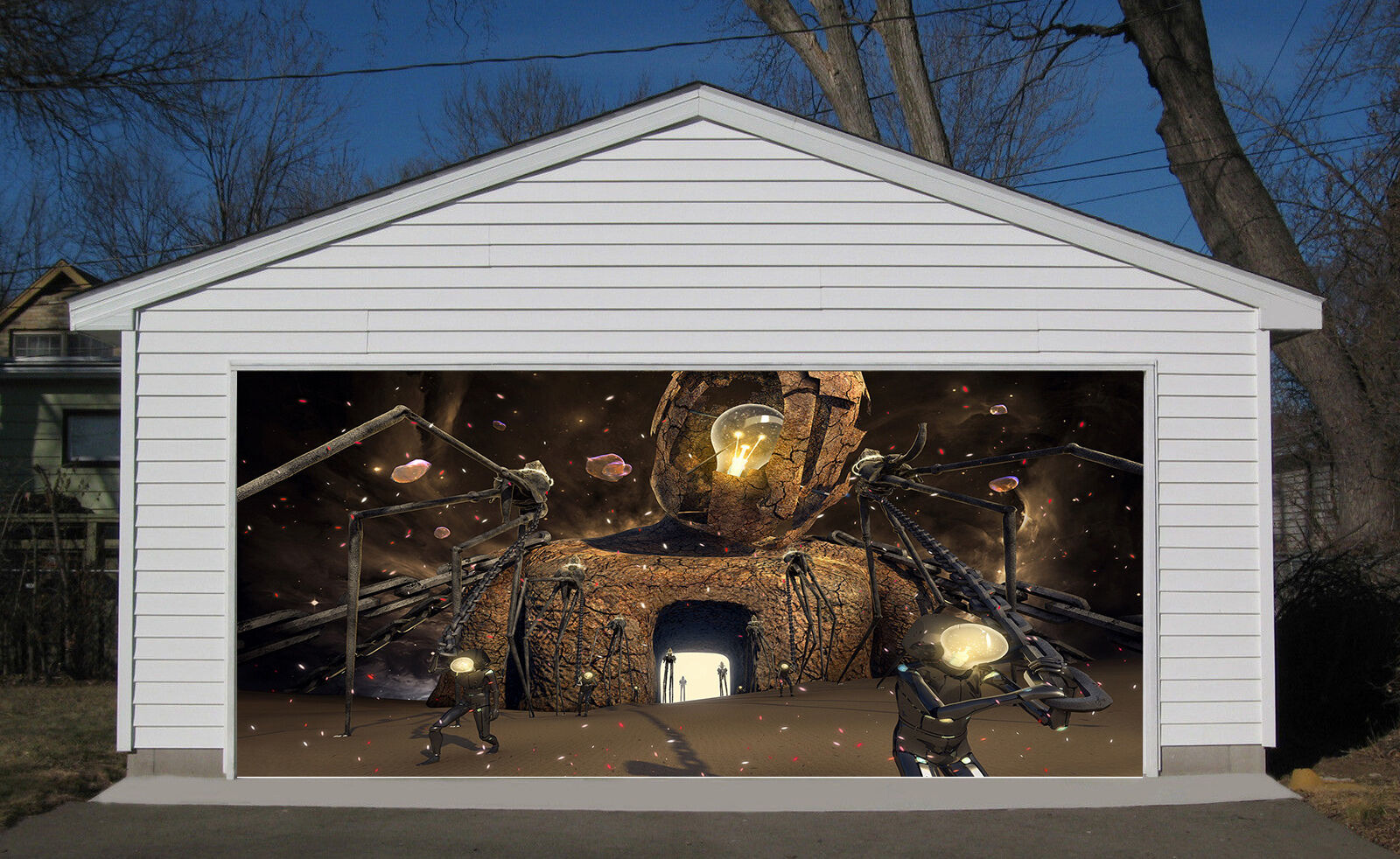 3D Robot Light Garage Door Murals Wall Print Decal Wall Deco AJ WALLPAPER IE