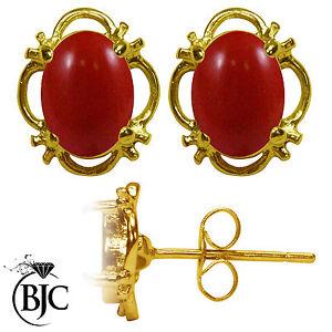 BJC-9-ct-Oro-Amarillo-Natural-Rojo-Coral-Individual-Pendientes-De-Presion