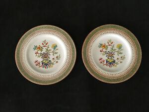 2-Rare-Vtg-1930-Royal-Worcester-Z625-1-Bread-amp-Butter-Dessert-Plates-Chinoiserie