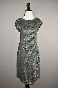 ST. JOHN $1295 Black Metallic Fringe Wool Blend Sheath Dress Size 6