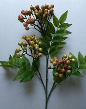 "24"" Christmas green  Fruit Berry stem. Silk Flower arrangements. floral"