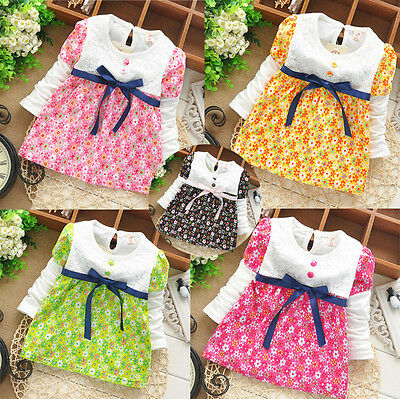 Newborn Baby Girl Fashion Clothing Toddler Cotton Dresses Infant Floral Dress