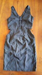 Women-039-s-Black-Plunge-cut-out-design-dress-sz10-BNWOT-free-post-E24