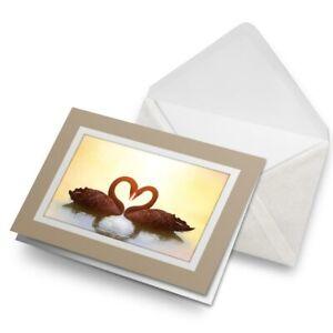 Greetings-Card-Biege-Swan-Couple-Love-Bird-Heart-14632